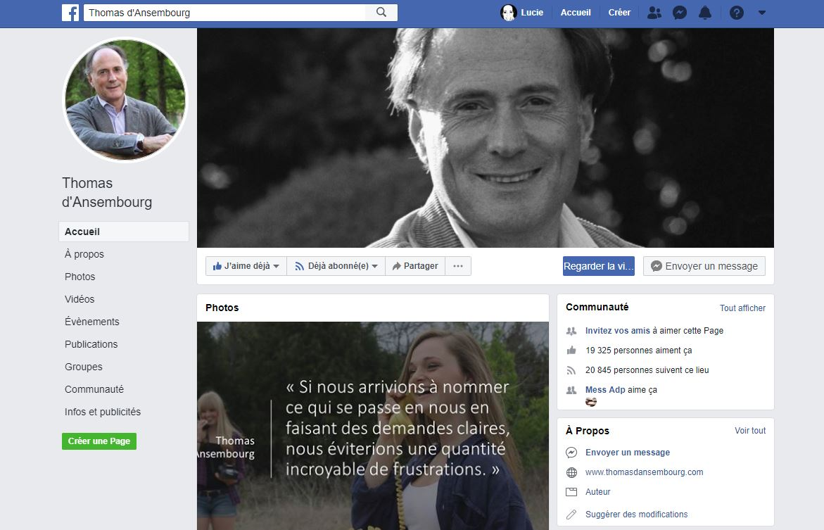 Facebook de Thomas d'Ansembourg
